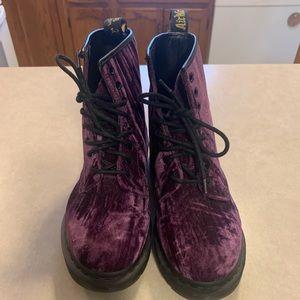 Purple Velvet Dr. Martins sz9